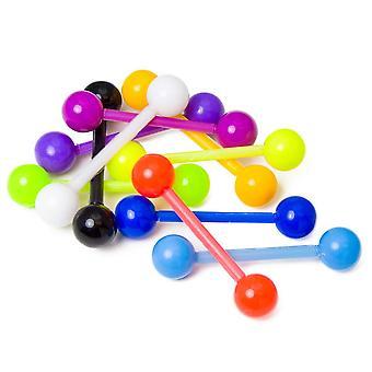 10 Pack fleksibel aksel lige vægtstænger - fantastisk til tungen eller brystvorten piercinger