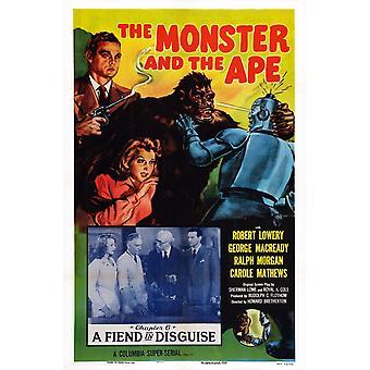 El monstruo y el mono nos cartel arte recuadro segundo dejó Ralph Morgan margen derecha Robert Lowery capítulo 6 demonio en disfraz 1945 película cartel Masterprinter