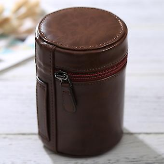 Medium Lens Case Zippered PU Leather Pouch Box for DSLR Camera Lens, Size: 13*9*9cm(Coffee)