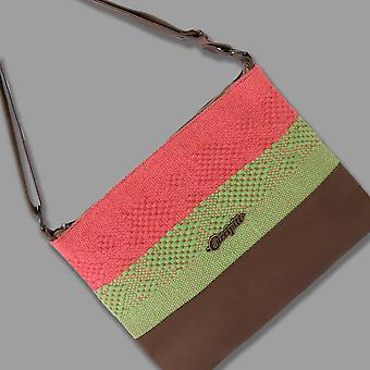 Cross-body Bag In Brown Leather With Coral And Green Stripe