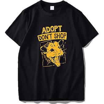 Adopt Don't Shop Screaming Opossum Funny Sarcastic Saying Phrase T Shirt