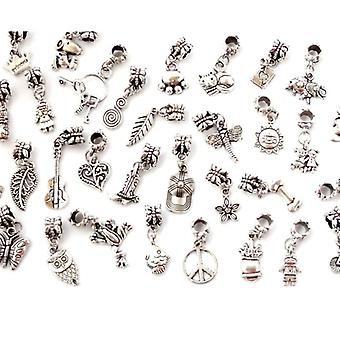 20 Pcs Silver Plated Tibetan Bead Bracelet Charms