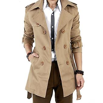 Autumn Men Trench Windbreaker, Long Solid Color Jacket With Double-breasted