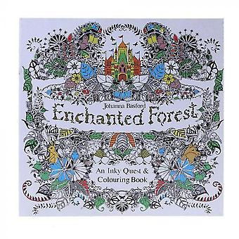Enchanted Forest English Version Drawing, Coloring Book