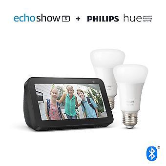 Echo show 5, negro + philips tono blanco bombilla inteligente paquete gemelo led (e27) | bluetooth & zigbee compatibl