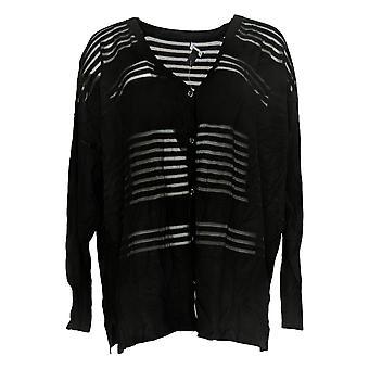 H Par Halston Women's Sweater Transparent Striped Cardigan Black A352397