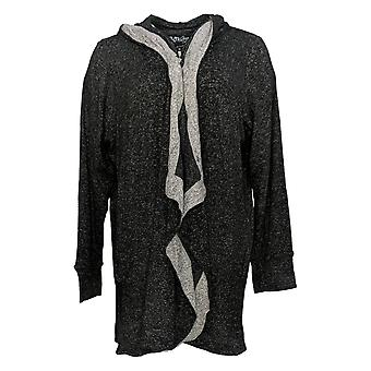 Soft & Cozy Women's Sweater Hooded Wrap w/ Thumbholes Black 663-488