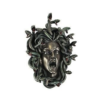 Head of Medusa the Greek Gorgon Serpent Bronze Finish Wall Sculpture