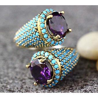 Vintage Turquoises Beaded Opening Ring Gothic Purple Zircon Jewelry