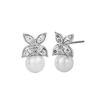Traveller Pierced Earrings - Rhodium plated - 8mm pearls - 114226