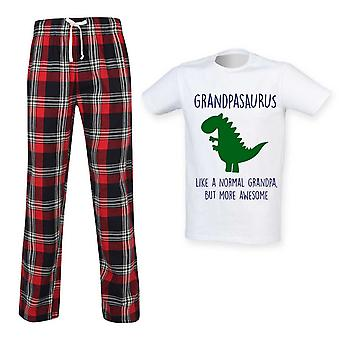 Pánský děda Dinosaur Tartan Kalhoty Pyžamo Set