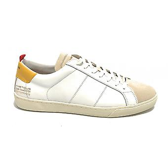Men's Shoe Ambitious 8102 Sneakers In White Leather / Sand / Yellow Us21am07