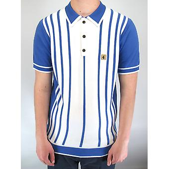 Peck White & Blue Striped Knitted Polo Shirt