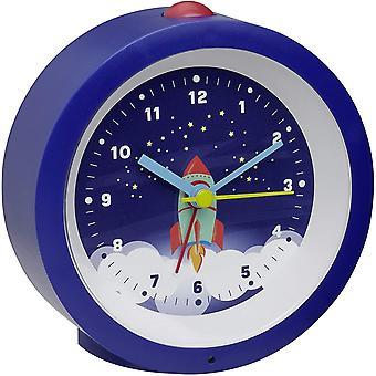 Wokex Analoger Wecker fr Kinder, 60.1033.06, mit Raketenmotiv, Astronaut, mit leisem Uhrwerk, blau,