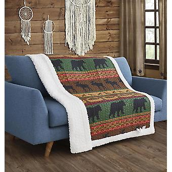 Spura Home Pictorial Lodge Preserve Primitive Quilted Sherpa Throw