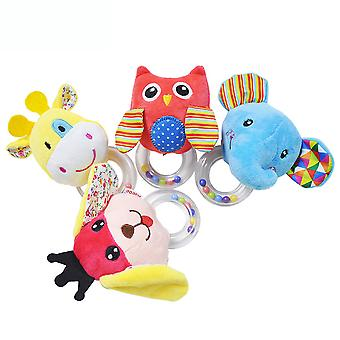 4pcs Animals Baby Hanging Toys Children 0-3 Rattle Toys With Bb Device Sound Paper Bell Soft Plush Rattling Doll