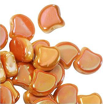 Tsjechisch glas, 2-gats Ginko kralen 7,5 mm, 10 gram, krijt volle abrikoos