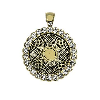 Bezel Pendant, Circle with Crystal Edge 25mm, 1 Piece, Antiqued Brass Tone