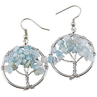 KYEYGWO Kvinnors örhängen med livets träd, handgjorda, med kristalltråd och kristaller, för flickor och League, färg: Ref. 0635946999165