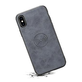 حقيبة جلدية مع فتحة بطاقة المحفظة لiPhone7plus/8plus رمادي الرجعية
