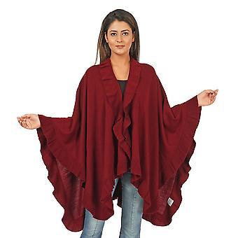 Knit Kimono with Frilled Hemline L: 150cm, W: 140cm - Black, Burgundy