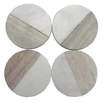 Uppsättning av 4 träeffekt marmorunderlägg - Rund