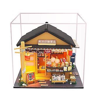 Japoński sklep spożywczy w stylu 3d drewniany domek dla lalek miniaturas z meblami diy doll house kit kit dla dzieci brithday gift