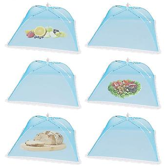 6 Pack Pop-up Picnic Food Tent Covers, Foldable Mesh Screen Food Covers(Blue)