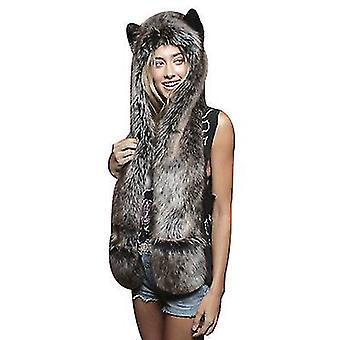 Wolf Head Hat Kesztyű Mancsok Nyomatok és fül szőrös kapucnis pulóver