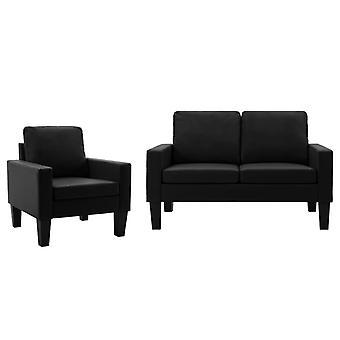 vidaXL 2 pcs. Sofa set Black imitation leather