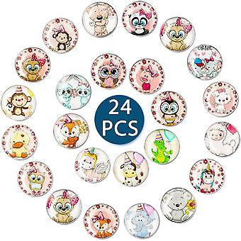 Kühlschrankmagnete 24 Stück,Kihlschrankmagnete Kinder Tiere,Magnete fuir Magnettafel Kinder,3D Bunt