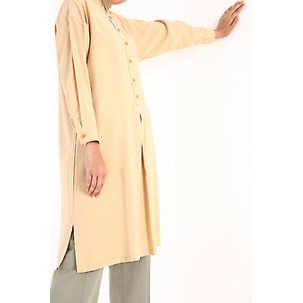 Pleated Front Long Viscose Tunic