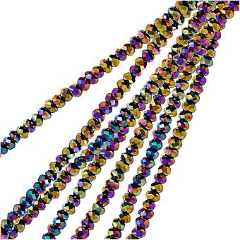 Crystal Beads, Faceted Rondelle 1.5x2.5mm, 2 Strands, Opaque Multi Color Iris