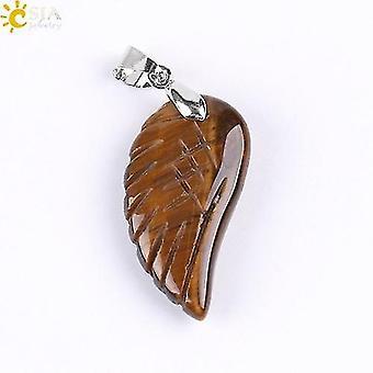 Natural Gem Stone Angel Wing Necklaces & Pendants(Tiger Eye)