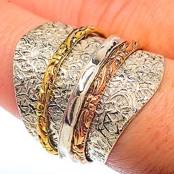 Large Copper Wedding Band Ring Size 8.5 (925 Sterling Silver)  - Handmade Boho Vintage Jewelry RING73771
