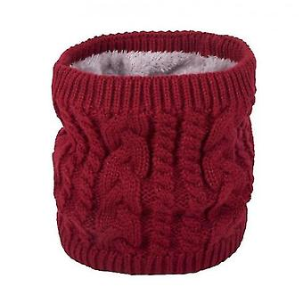 Warm Scarf In Winter, All-match Knitted Scarf For Couples, Pure Color Plus Velvet Scarf(Red)