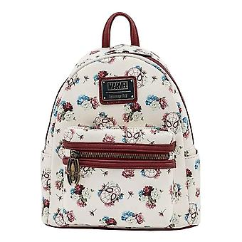 Loungefly Mini Backpack Spiderman Blommig Logotyp ny Officiell Marvel White