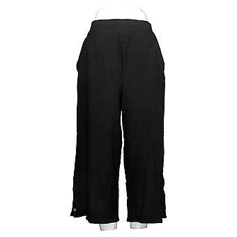 リサ リンナ コレクション レディース パンツ キュロット w/ ヘム ブラック A351838