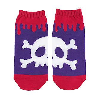 Pink and Purple Skull and Crossbones Ankle Socks