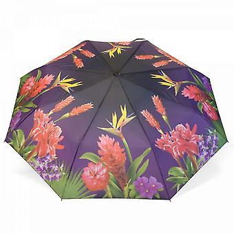 Paraply automatiskt Pocket paraply motiv exotiska blommor
