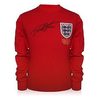 Sir Geoff Hurst firmó la camiseta de Inglaterra para la Copa Mundial de Fútbol de 1966