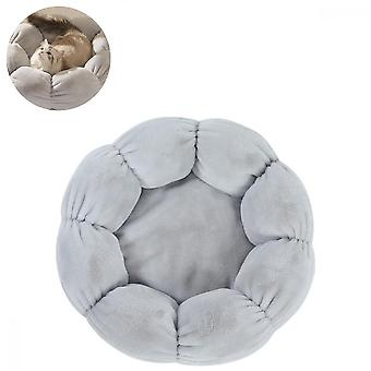 Pet Cats And Dogs Winter Warm Flowers Large Plush Nest (gray)