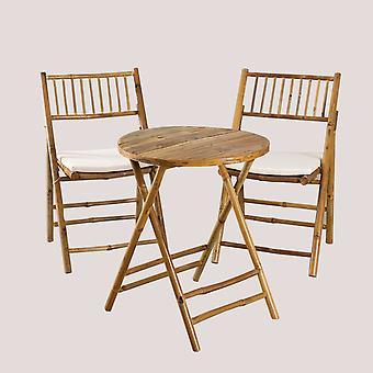 SKLUM Katalyn Bamboe Bijzettafel en 2 Klapstoelen Set Bamboe