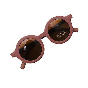 Children's infant's retro style solid color sunglasses(Dark Maroon)
