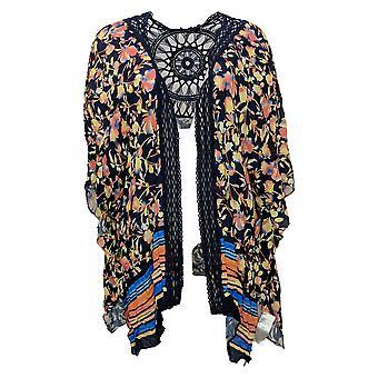 Colleen Lopez Women's Top Crochet Inset Kimono Blue 698401