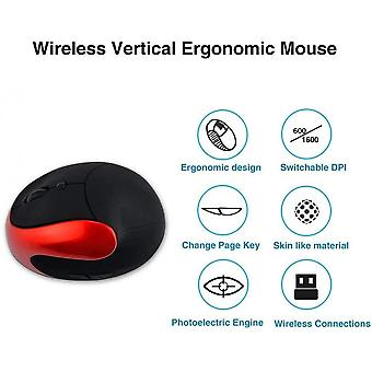 Wireless Mouse 2.4g Nano Receiver,4 Adjustable Dpi 800/1200/1600,rechargeable,6 Buttons(red)