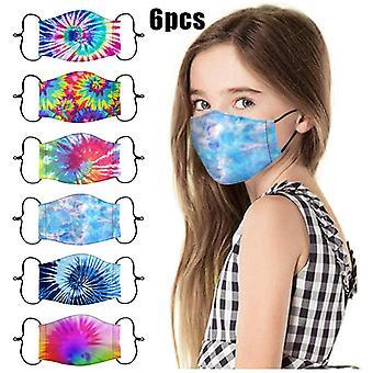 6pcs Kinder Kinder Gesichtsmaske Krawatte Dye Bedruckte Gesichtsmasken Waschbare wiederverwendbare Gesicht Baumwolle Stoff Maske