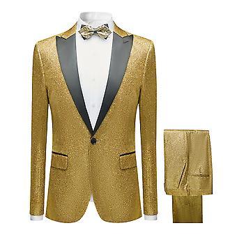 מייל לגברים מבריק שני חלקים חליפה חד-חזה (חליפה אחת + מכנסיים) זהב