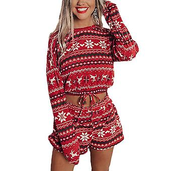 Women Christmas Print Pajamas Suit Long Sleeve Crop Top Pullover Shorts Homewear