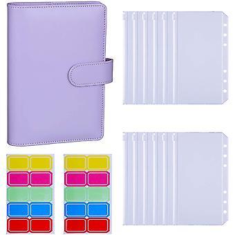 12pcs A6 Binder Pockets Loose Leaf Bags 6 Ring Binder Cash Budget Envelopes System, A6 Pu Leather Binder Set